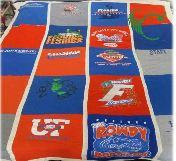 A t-shirt quilt made from old university keepsakes